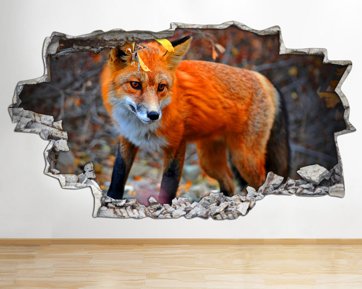 AA099 Cute Fox Wild Animals Nature Smashed Wall Decal 3D Art Stickers Vinyl Room