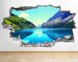 AA105 Mountain Lake Tree Landscape Smashed Wall Decal 3D Art Stickers Vinyl Room