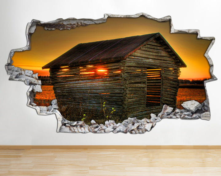 AA106 Sunset Landscape Barn Nature Smashed Wall Decal 3D Art Stickers Vinyl Room