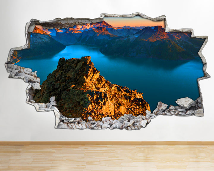 AA108 Mountain Landscape Sunset Smashed Wall Decal 3D Art Stickers Vinyl Room