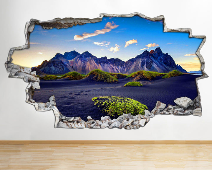 AA109 Mountain Sky Sand Landscape Smashed Wall Decal 3D Art Stickers Vinyl Room