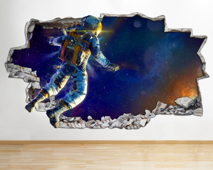 AA113 Space Astronaut Galaxy Stars Smashed Wall Decal 3D Art Stickers Vinyl Room