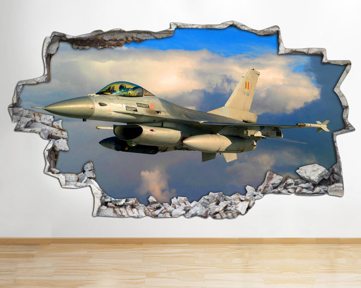 AA114 Jet Fighter Plane Sky Clouds Smashed Wall Decal 3D Art Stickers Vinyl Room
