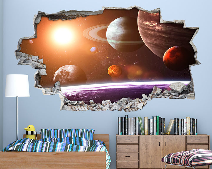 Planets Space Sun Boys Bedroom Decal Vinyl Wall Sticker B011