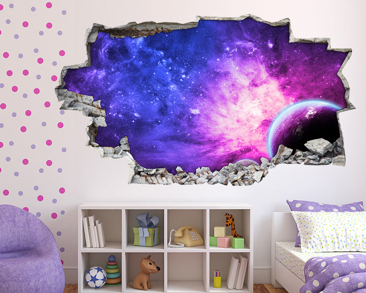 Purple Space Nebula Girls Bedroom Decal Vinyl Wall Sticker B016