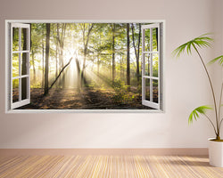 Sunshine Forest Trees Hall Decal Vinyl Wall Sticker B115w