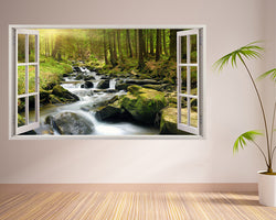 Scenic Forest River Hall Decal Vinyl Wall Sticker B120w