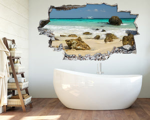 Beach Coast Rocks Bathroom Decal Vinyl Wall Sticker B155