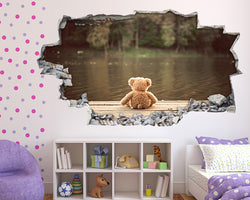 Teddy Bear Lake Girls Bedroom Decal Vinyl Wall Sticker B158