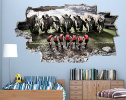 Rugby Players Rhino Animal Boys Bedroom Decal Vinyl Wall Sticker C005