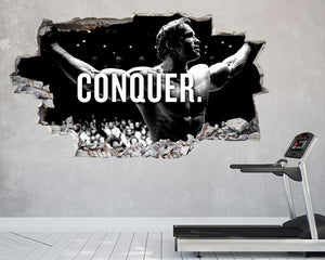 Conquer Motivate Bodybuilder Gym Decal Vinyl Wall Sticker C122