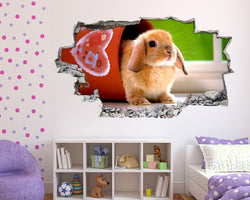 Cute bunny Rabbit Flower Pot Girls Bedroom Decal Vinyl Wall Sticker C270
