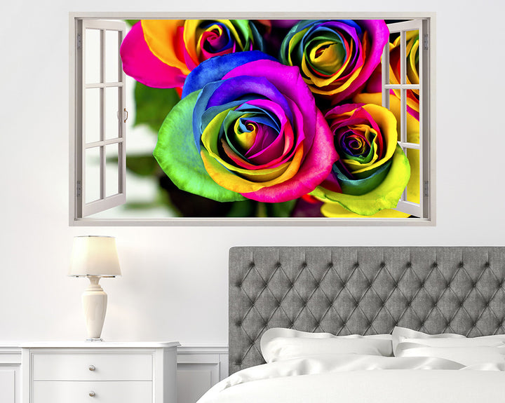Colourful Rose Flowers Bedroom Decal Vinyl Wall Sticker C494