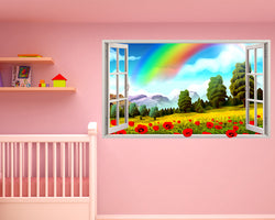 Rainbow Nature Summer Nursery Decal Vinyl Wall Sticker C496