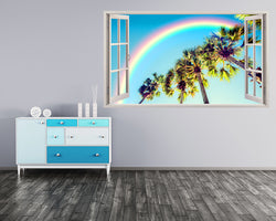 Rainbow LA Palm Trees Hall Decal Vinyl Wall Sticker C507