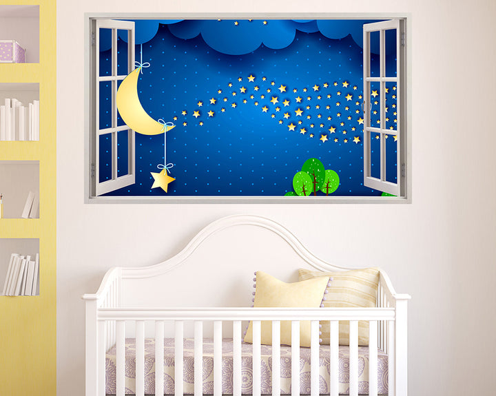 Cute Moon Stars Night Nursery Decal Vinyl Wall Sticker C532