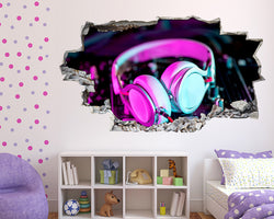 Headphones Decks Neon Girls Bedroom Decal Vinyl Wall Sticker C579