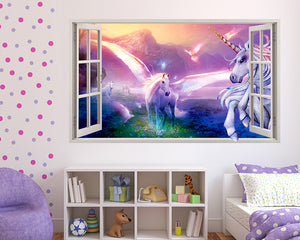 Magical Unicorn Wings Girls Bedroom Decal Vinyl Wall Sticker C596