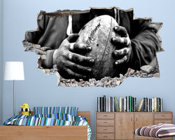 Rugby Ball Hands Boys Bedroom Decal Vinyl Wall Sticker C666