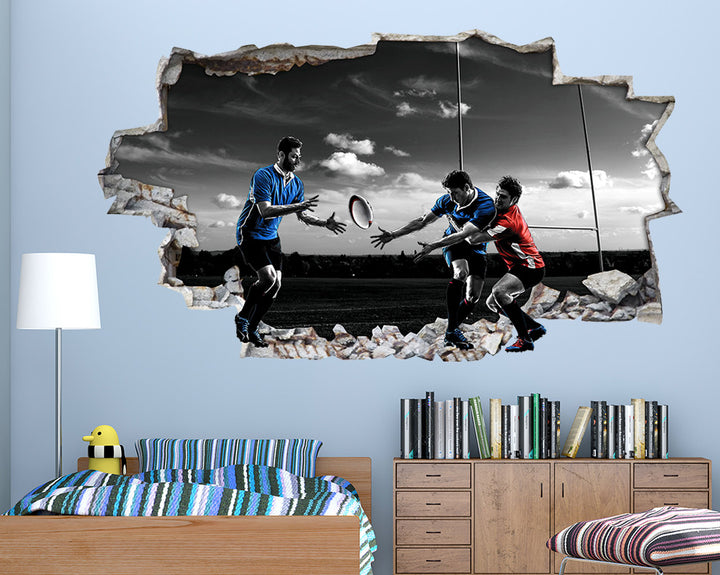 Rugby Pitch Training Boys Bedroom Decal Vinyl Wall Sticker C669