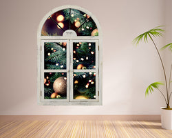Christmas Tree Lights Hall Decal Vinyl Wall Sticker C683