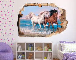 Horses Beach Sea Girls Bedroom Decal Vinyl Wall Sticker D571
