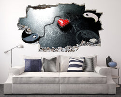 Yin Yang Heart Living Room Decal Vinyl Wall Sticker D666