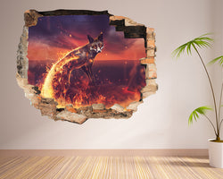 Fire Flames Fox Living Room Decal Vinyl Wall Sticker D905