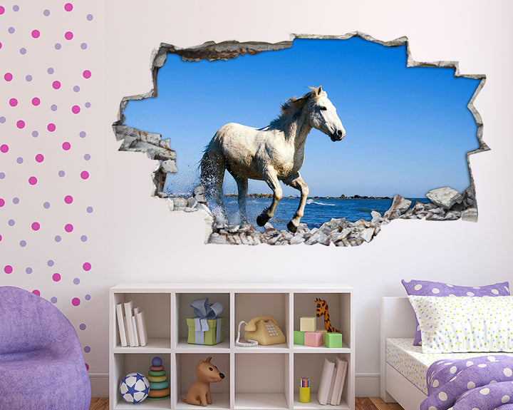 Horse Sea Beach Girls Bedroom Decal Vinyl Wall Sticker F030