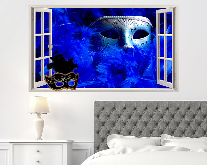 Masquerade Ball Feathers Bedroom Decal Vinyl Wall Sticker F039