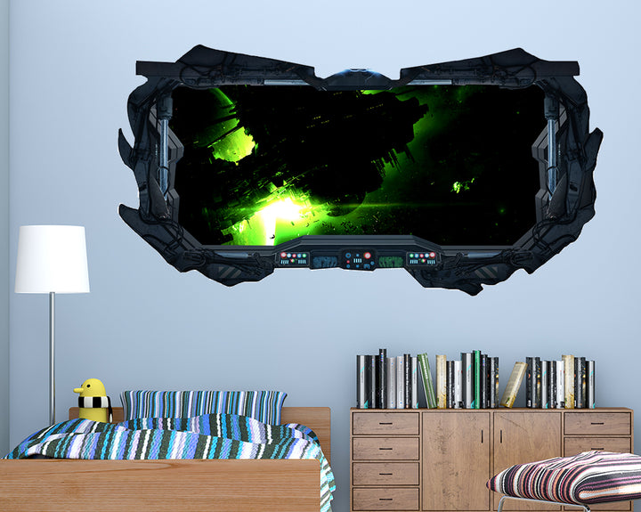 Neon Space Ship Boys Bedroom Decal Vinyl Wall Sticker F043