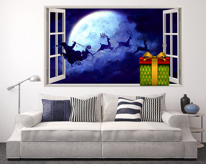 Santa Christmas Sleigh Living Room Decal Vinyl Wall Sticker F058
