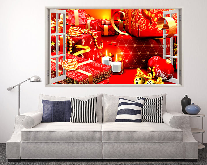 Christmas Presents Gifts Living Room Decal Vinyl Wall Sticker F063