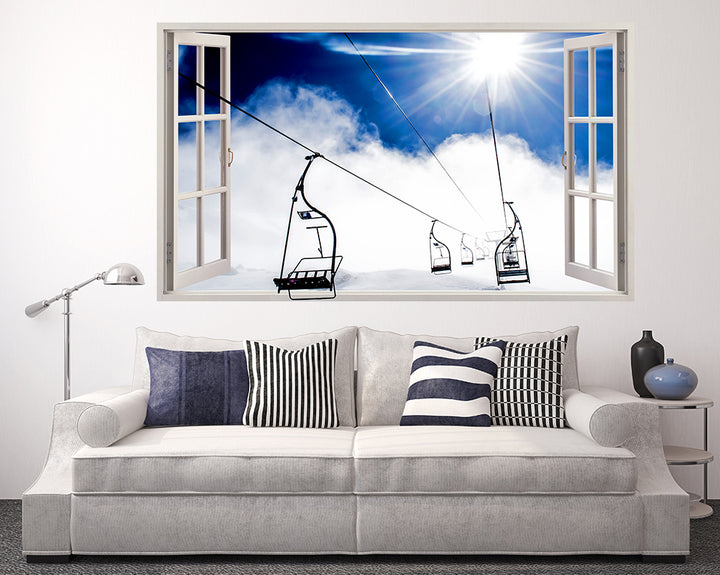 Skiing Mountain Lift Living Room Decal Vinyl Wall Sticker F069