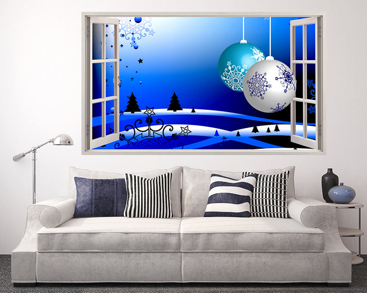 Christmas Baubles Snowflakes Living Room Decal Vinyl Wall Sticker F074