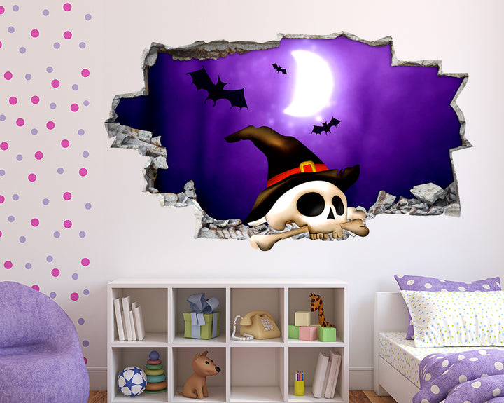 Halloween Bats Skull Girls Bedroom Decal Vinyl Wall Sticker F081