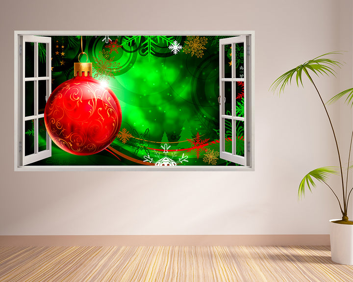 Christmas Bauble Festive Living Room Decal Vinyl Wall Sticker F085