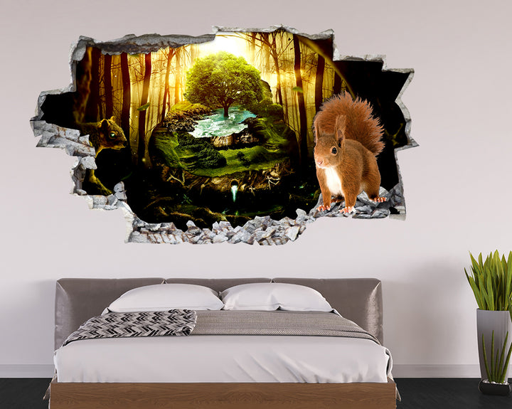 Squirrels Nature Water Bedroom Decal Vinyl Wall Sticker F086