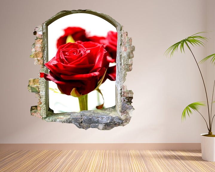 Red Rose Flower Hall Decal Vinyl Wall Sticker F091