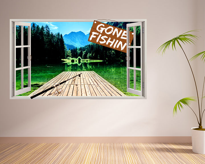 Gone Fishing Lake Porch Decal Vinyl Wall Sticker F105