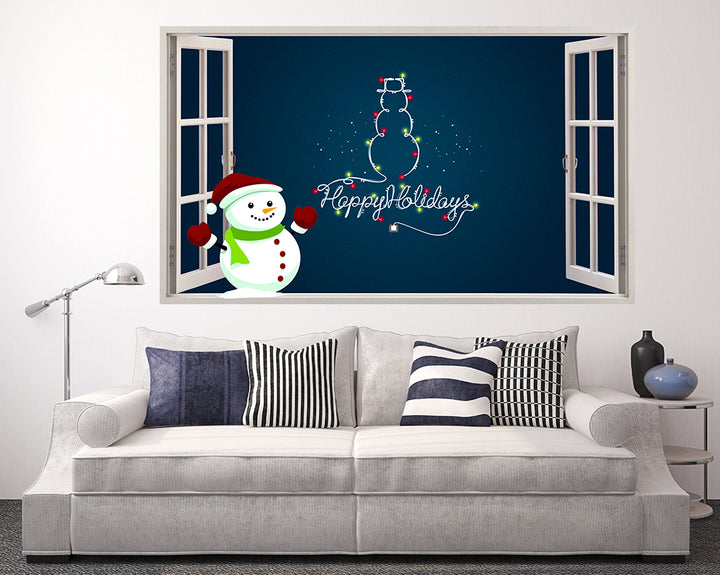 Happy Holidays Snowman Living Room Decal Vinyl Wall Sticker F109