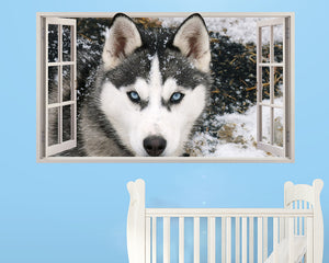 Siberian Husky Puppy Nursery Decal Vinyl Wall Sticker F138