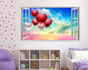 Balloons Colourful Sky Girls Bedroom Decal Vinyl Wall Sticker F174