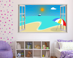Beach Cartoon Summer Girls Bedroom Decal Vinyl Wall Sticker F194