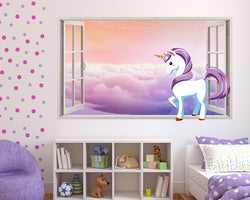 Cartoon Unicorn Clouds Girls Bedroom Decal Vinyl Wall Sticker F302
