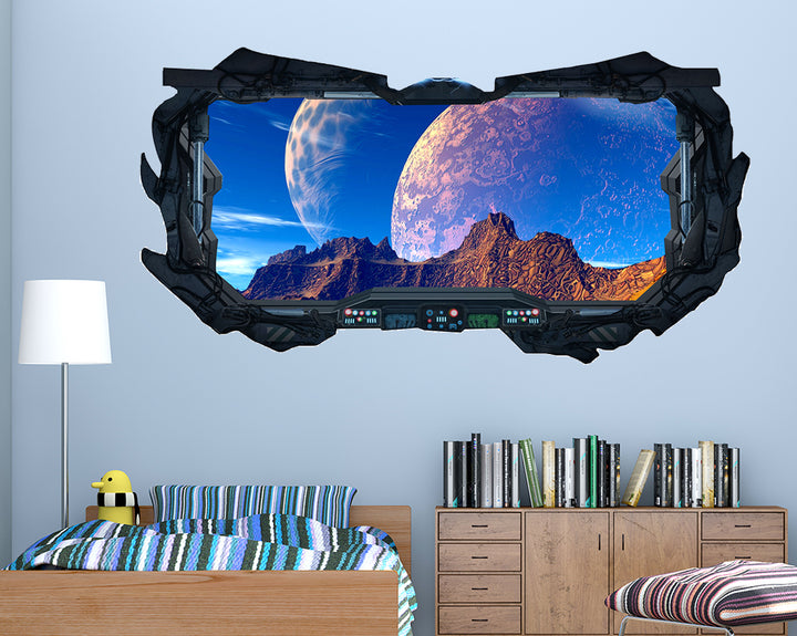 Planets Mountains Futuristic Boys Bedroom Decal Vinyl Wall Sticker F563