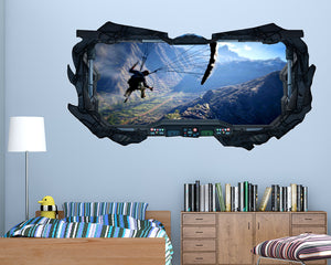 Mountain Landscape Parachute Boys Bedroom Decal Vinyl Wall Sticker G005