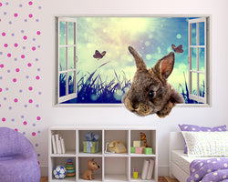 Bunny Rabbit Butterflies Girls Bedroom Decal Vinyl Wall Sticker G700
