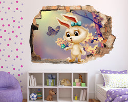 Rabbit Cute Butterfly Girls Bedroom Decal Vinyl Wall Sticker G738