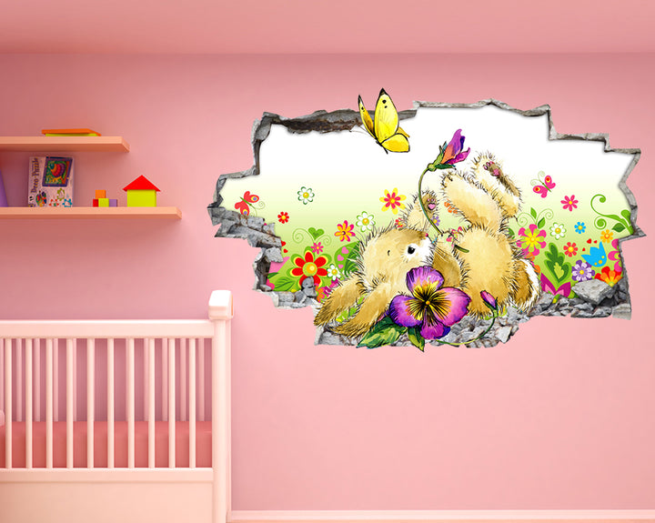 Bunny Rabbit Flowers Nursery Decal Vinyl Wall Sticker G869